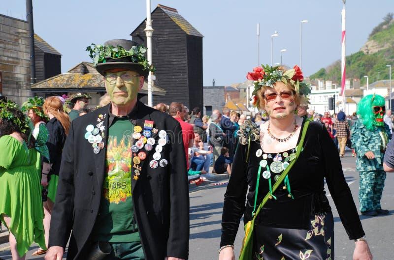 Gato en el festival verde, Hastings foto de archivo libre de regalías