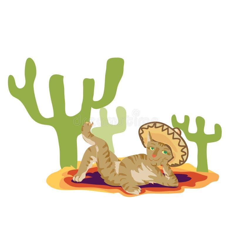 Gato En El Sombrero Mexicano Ilustración del Vector - Ilustración de ...