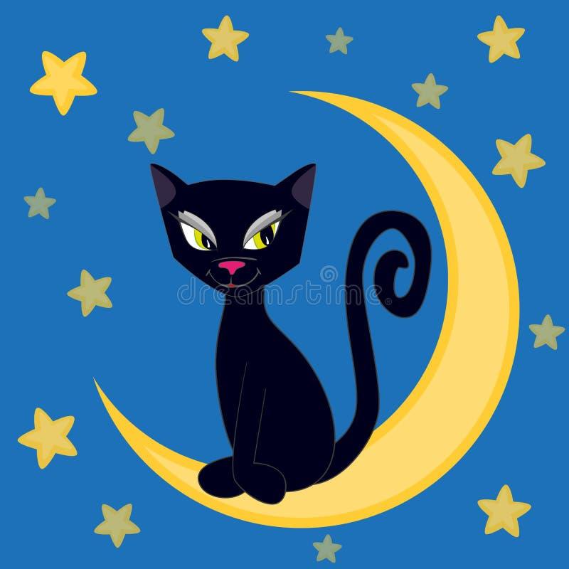 Gato en la luna ilustración del vector