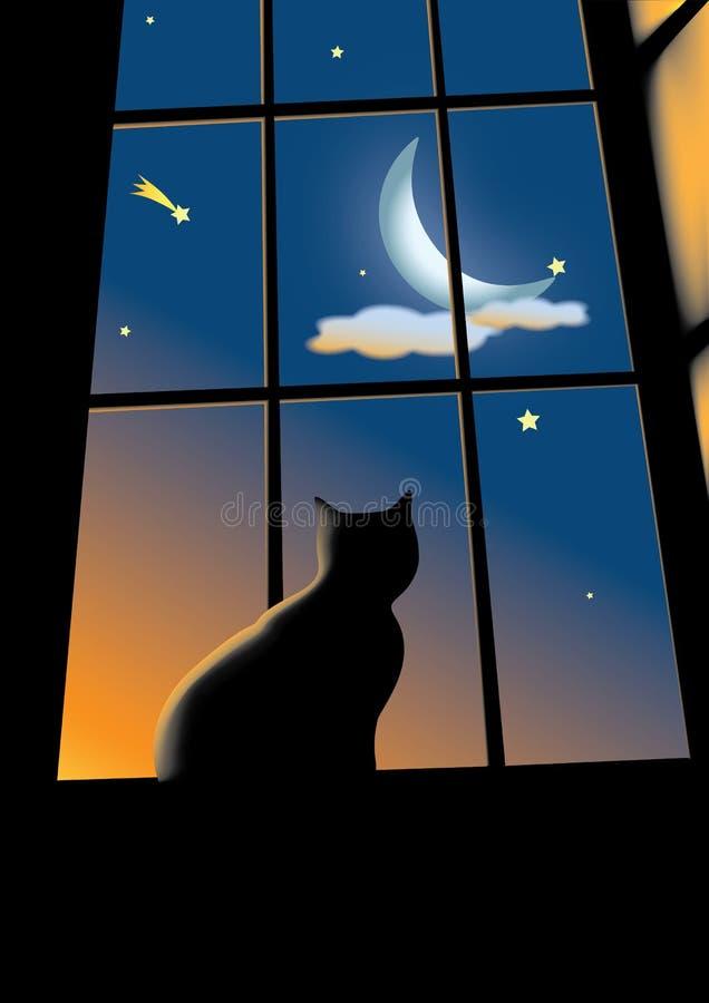 Gato en la ventana ilustración del vector