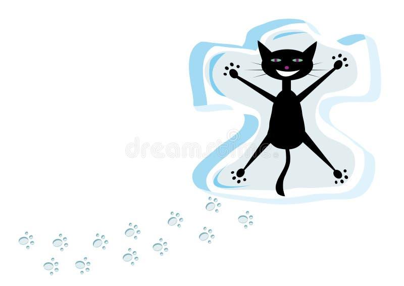 Gato en nieve stock de ilustración
