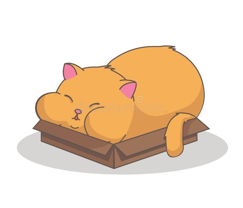 Gato en una caja con las mejillas ilustración del vector