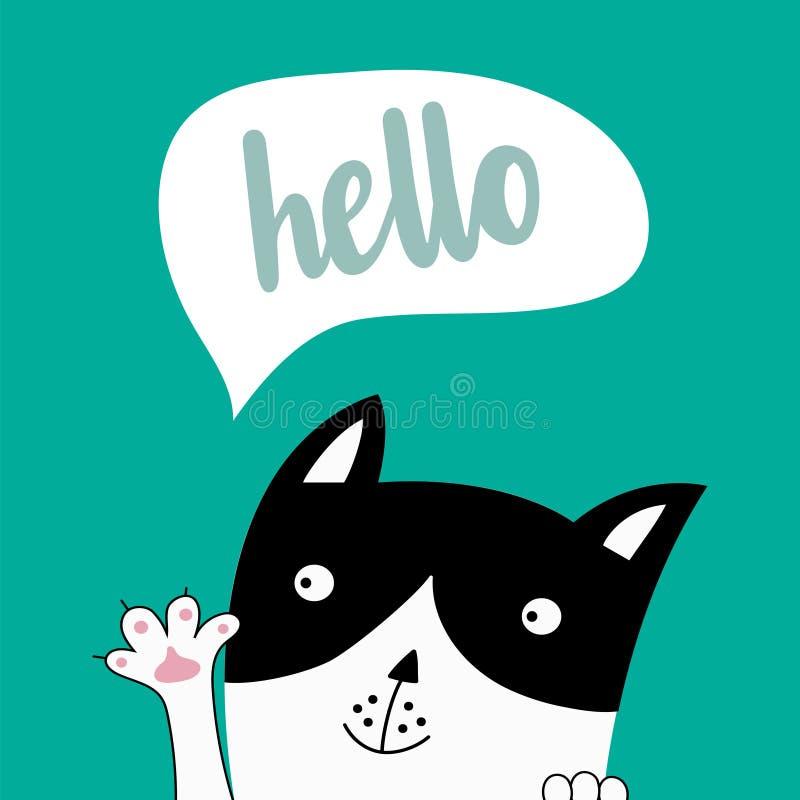 Gato engraçado Cartão criativo bonito ilustração stock