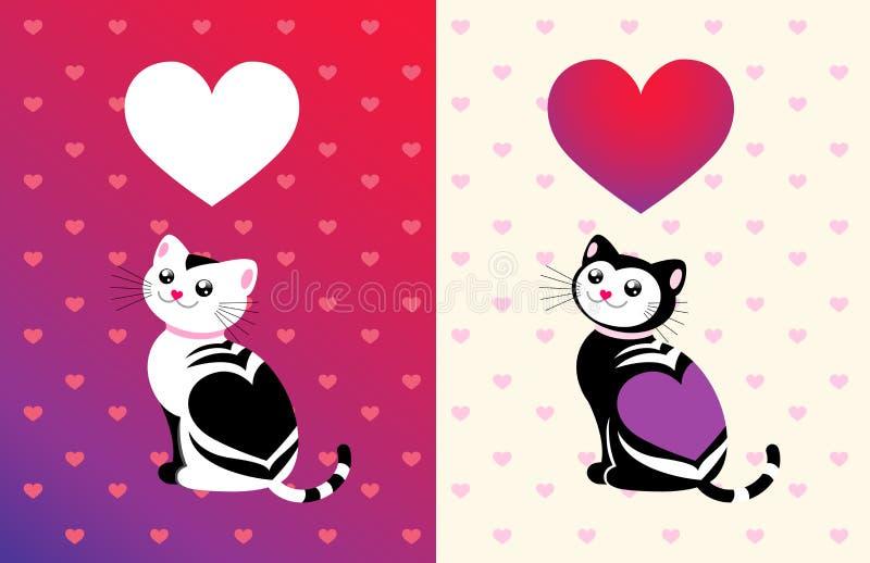 Download Gato Engraçado Com Um Coração Ilustração do Vetor - Ilustração de bandeira, presente: 12810809