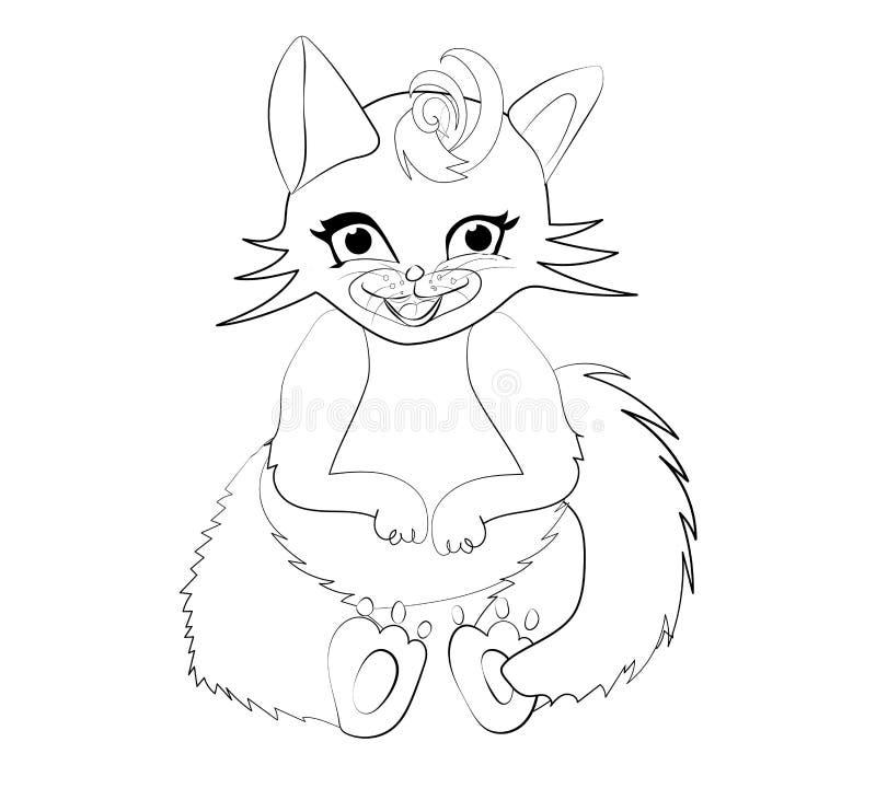 Gato fêmea tirado com estilo simples dos desenhos animados grandes dos olhos imagem de stock royalty free