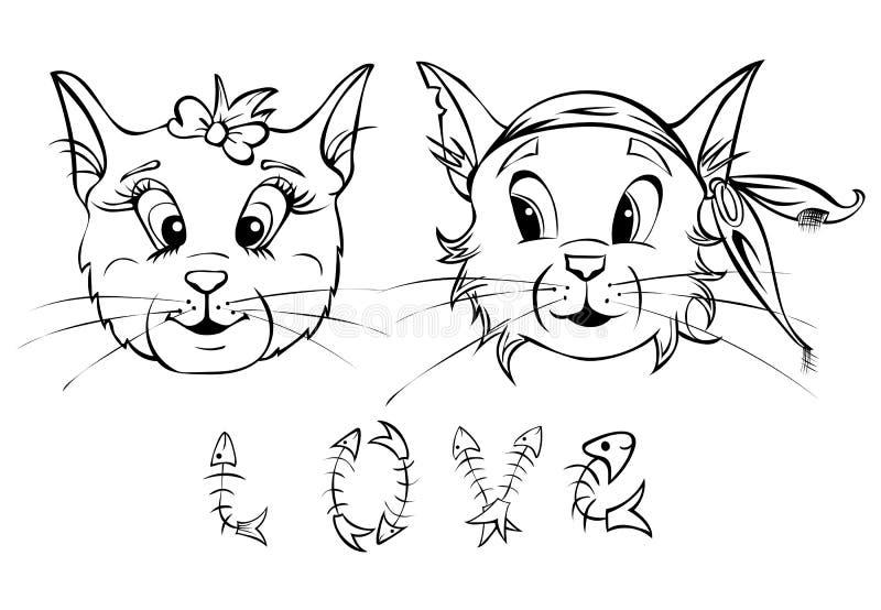Gato fascinado dois ilustração royalty free