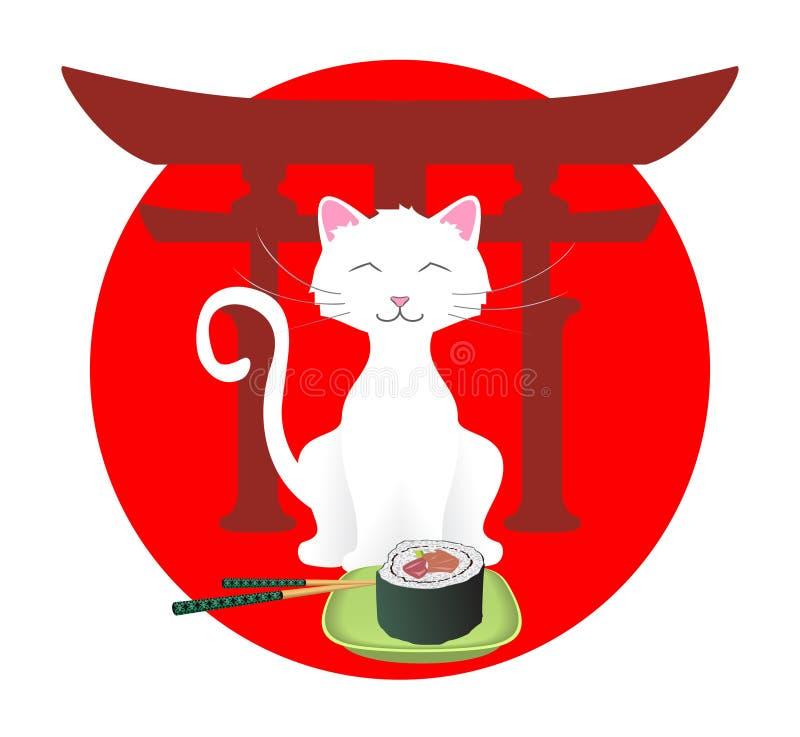 Gato feliz con el sushi stock de ilustración