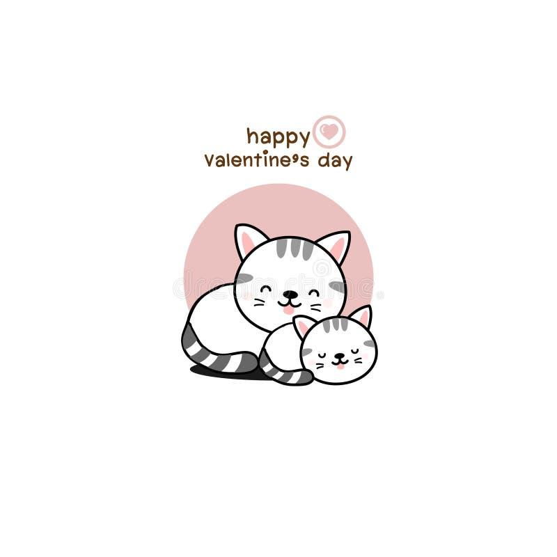Gato feliz del amor de los pares de día de San Valentín stock de ilustración