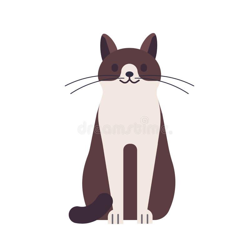 Gato feliz engraçado bonito isolado no fundo branco Animal doméstico ou animal de estimação Vaquinha ou gatinho de assento adoráv ilustração do vetor