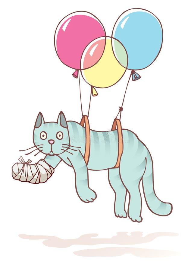 Gato ferido com a pata danificada ilustração royalty free