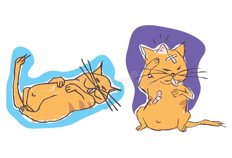 Gato ferido preguiçoso ilustração stock