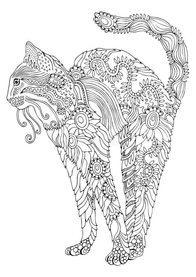 Gato floral de bengal Gato desenhado mão Esboço para a página da coloração do anti-esforço imagens de stock royalty free