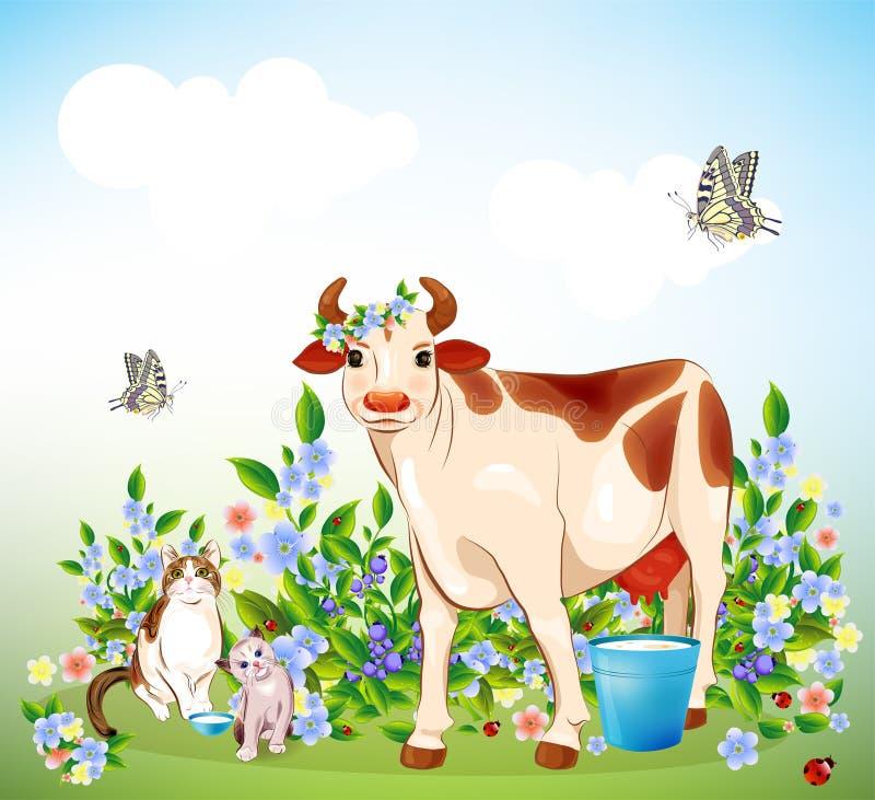 Gato, gatinho e vaca ilustração do vetor