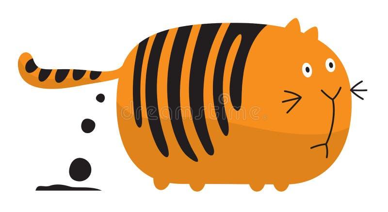 Gato gordo cagar ilustração stock