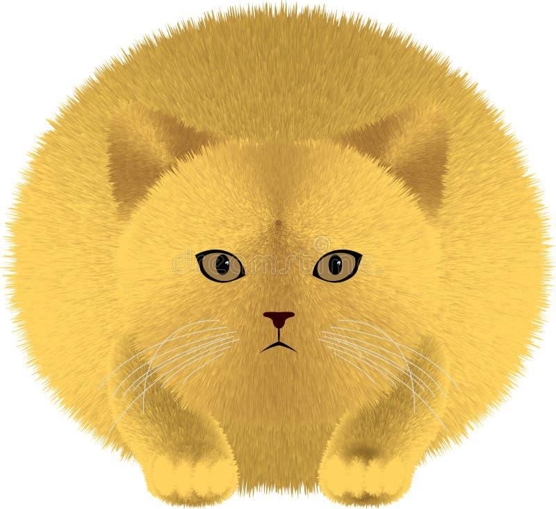 Gato gordo con el pelo mullido lanudo stock de ilustración