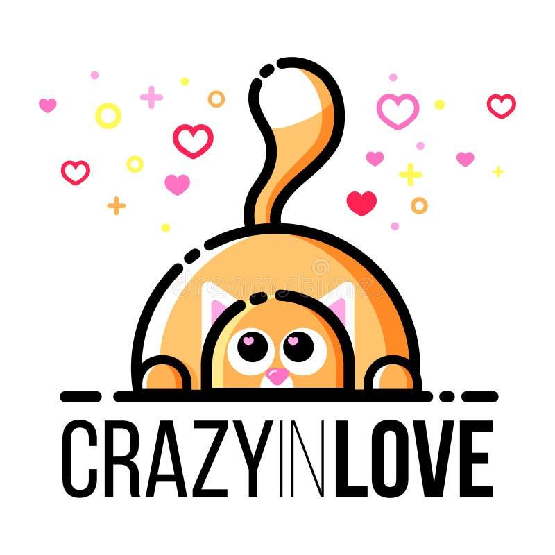 Gato gordo lindo con los iconos en forma de corazón en ojos Tarjeta de felicitación del diseño de Valentine Day del santo Línea e ilustración del vector