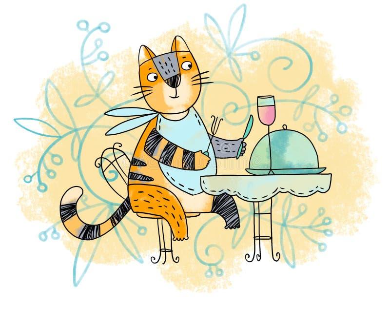 Gato gourmet ilustração royalty free