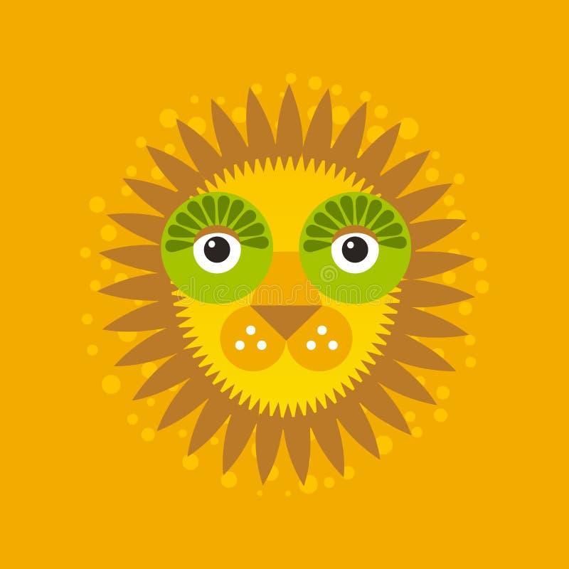Gato grande da cara engraçada, leão com juba no fundo alaranjado Vetor ilustração do vetor