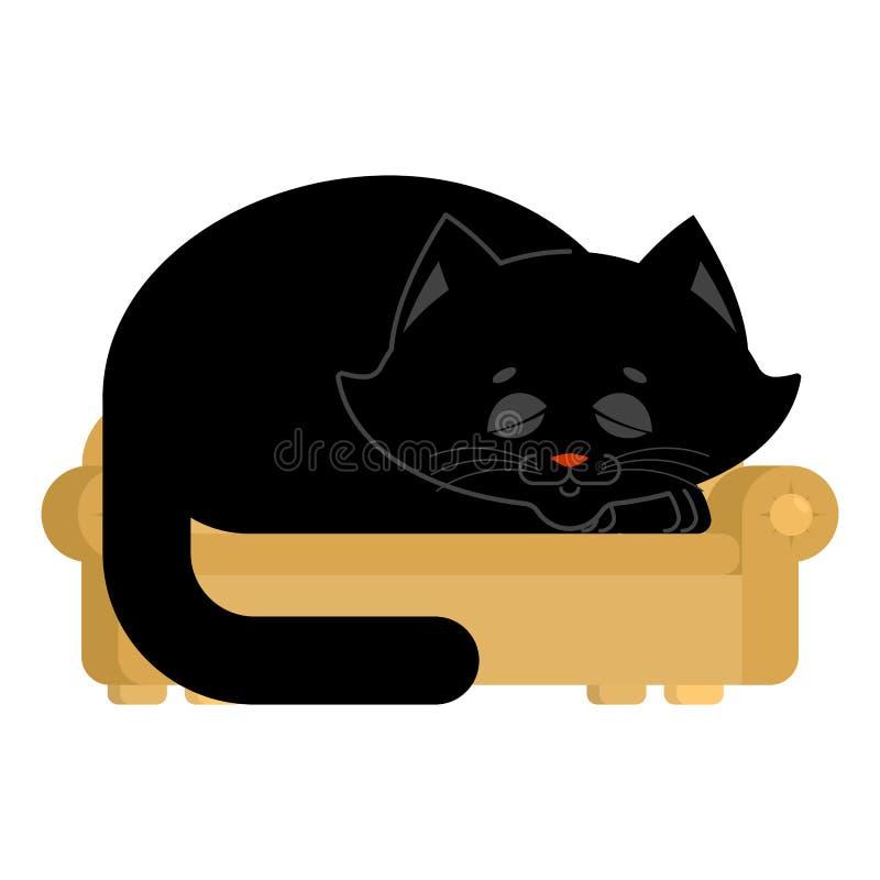 Gato grande en el sofá dormido animal doméstico enorme en el sofá ilustración del vector