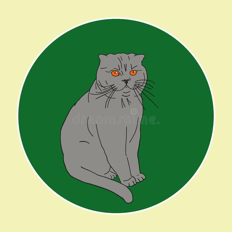 Gato gris con los ojos anaranjados en el fondo verde en marco redondo Pueden ser las postales, impresión de la tela, cartel Estil imagen de archivo libre de regalías