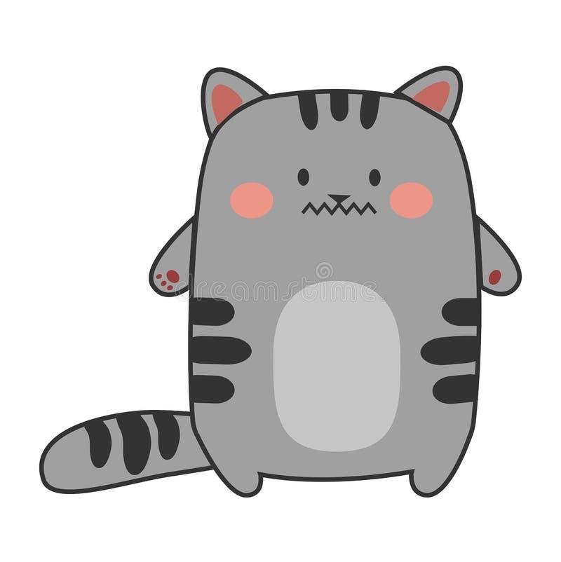 Gato gris del Emoticon - ajustado ilustración del vector