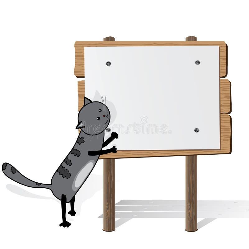 Gato gris que sostiene la cartelera en blanco ilustración del vector