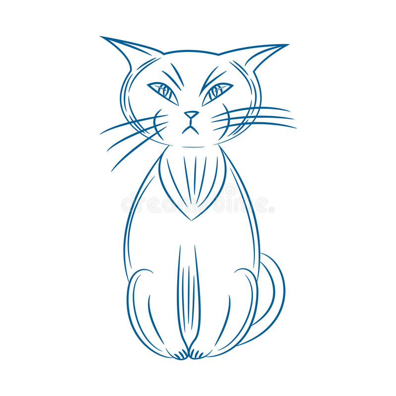 Gato gruñón Handdrawn En el fondo blanco ilustración del vector