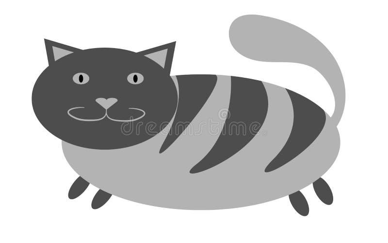 Gato grueso, de gato atigrado gris con las patas cortas y un hocico grande con los oídos que resaltan hacia arriba en un fondo bl ilustración del vector