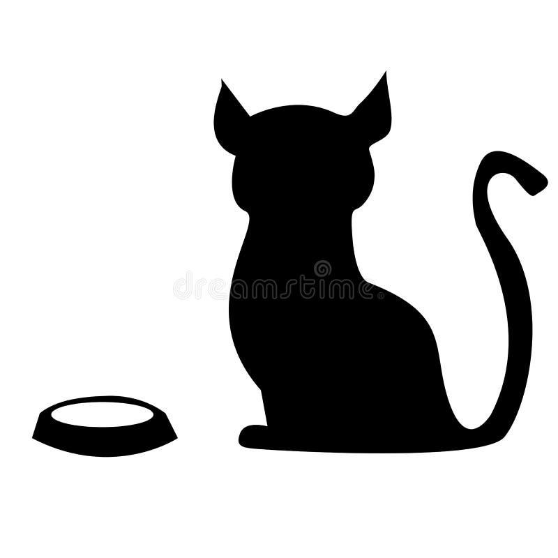 Gato hambriento con un cuenco vacío libre illustration