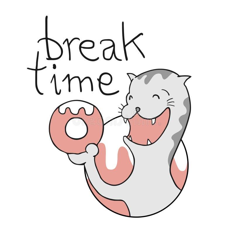 Gato hambriento divertido con tiempo de la rotura ilustración del vector