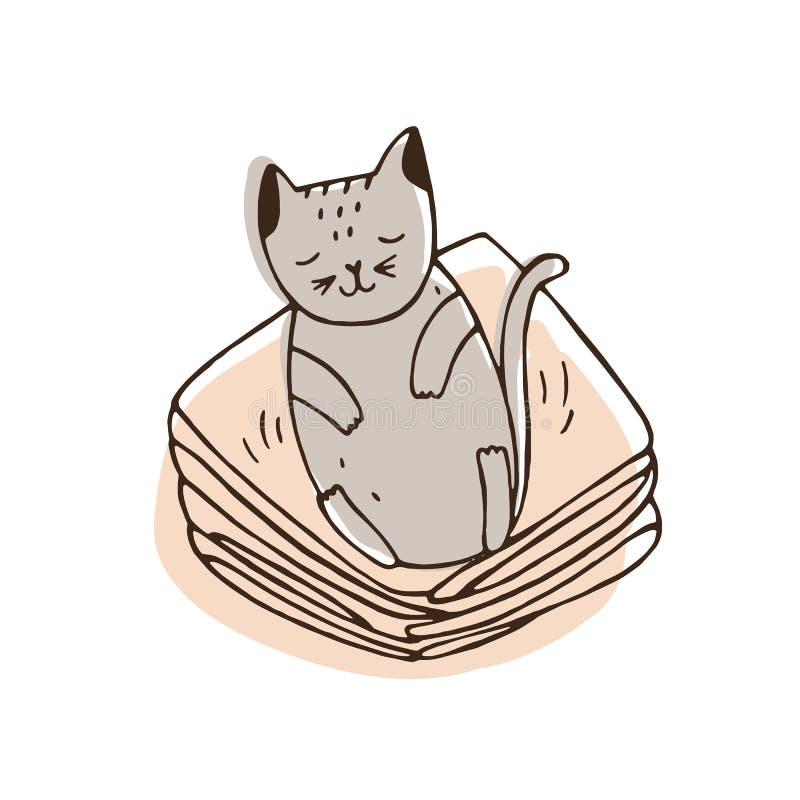Gato impertinente bonito que encontra-se na pilha da roupa e que deixa o cabelo nele Vaquinha desagradável que dorme no fato limp ilustração do vetor