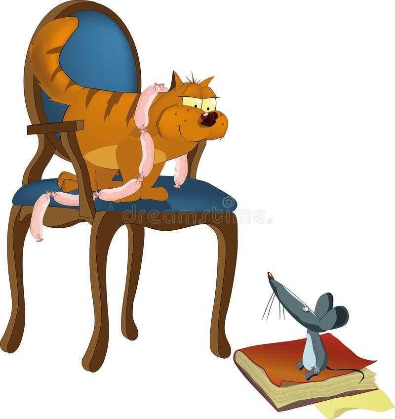Gato ingenioso que embroma el ratón hambriento ilustración del vector