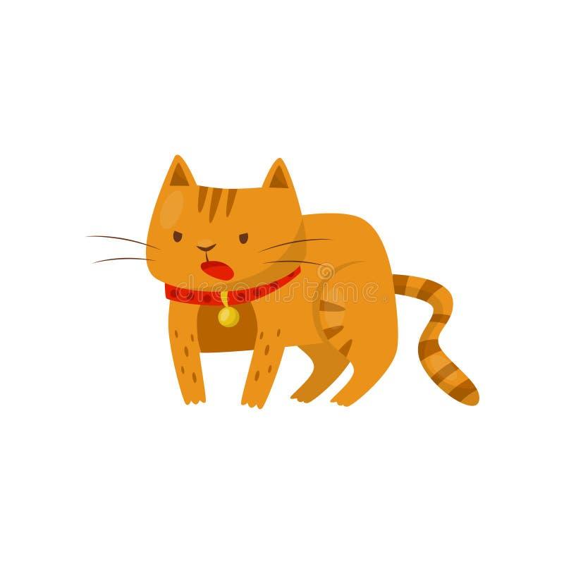 Gato irritado engraçado, ilustração doméstica bonito do vetor do personagem de banda desenhada do animal de animal de estimação e ilustração do vetor