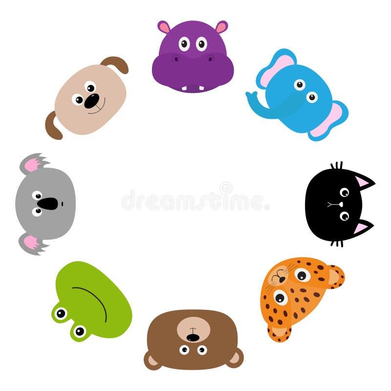 Gato, jaguar, cão, hipopótamo, elefante, urso, rã, coala Cara principal animal do jardim zoológico Jogo de caracteres bonito dos  ilustração do vetor