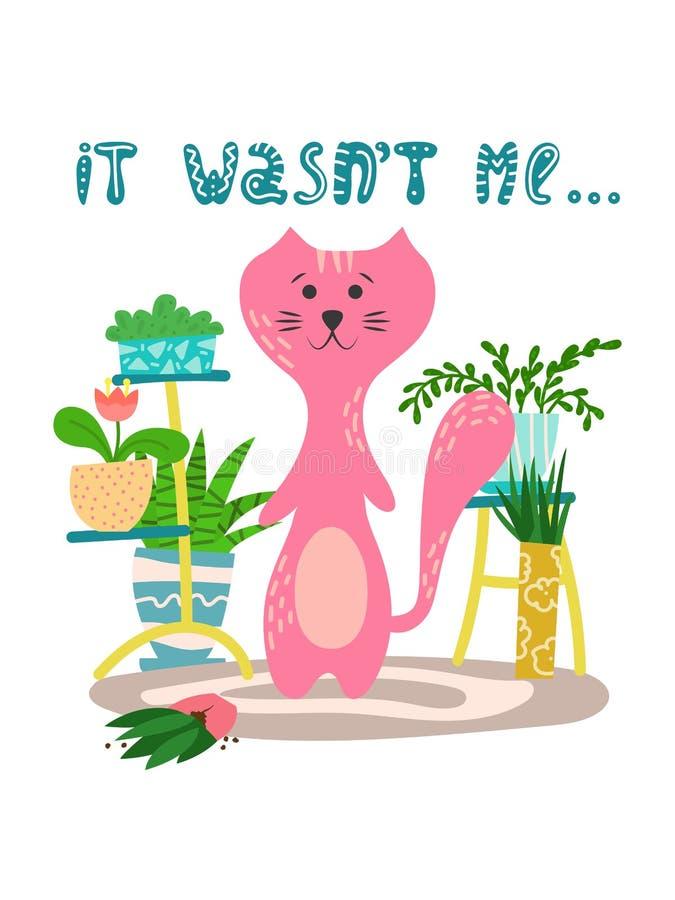 Gato juguetón lindo con las plantas de la casa en estilo plano de la historieta Ejemplo exhausto de la mano con cita ilustración del vector