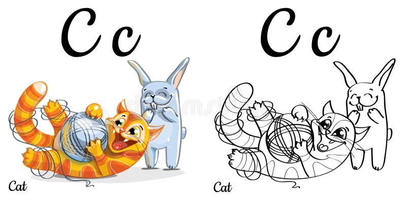 Gato Letra C, Página Que Colorea Del Alfabeto Del Vector Stock de ...