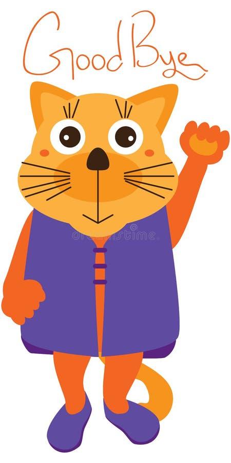 Gato lindo adiós stock de ilustración