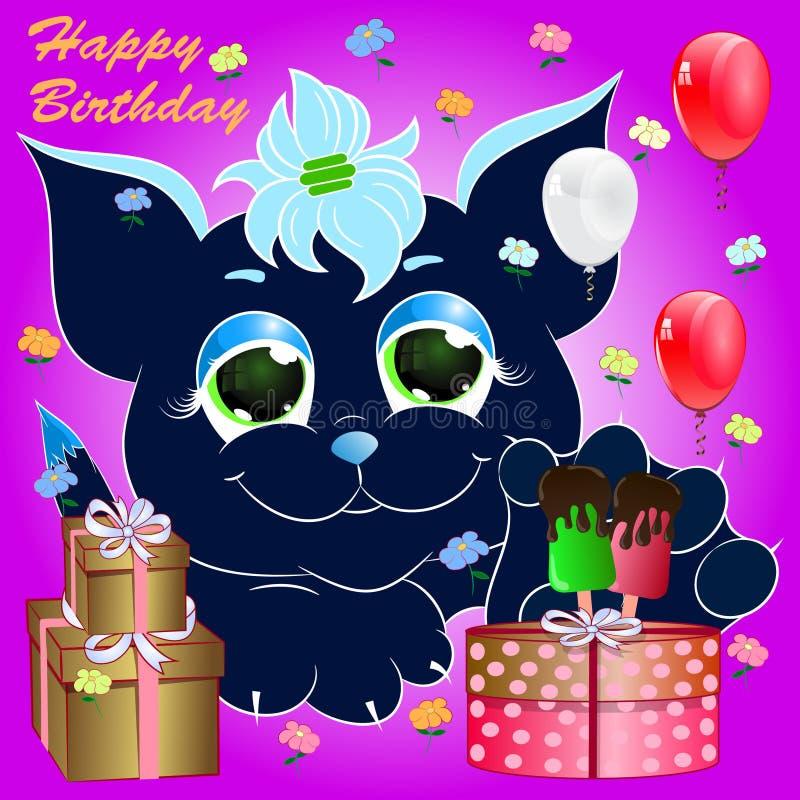 Gato lindo azul Tarjeta de felicitación Ilustración del vector de la historieta ilustración del vector