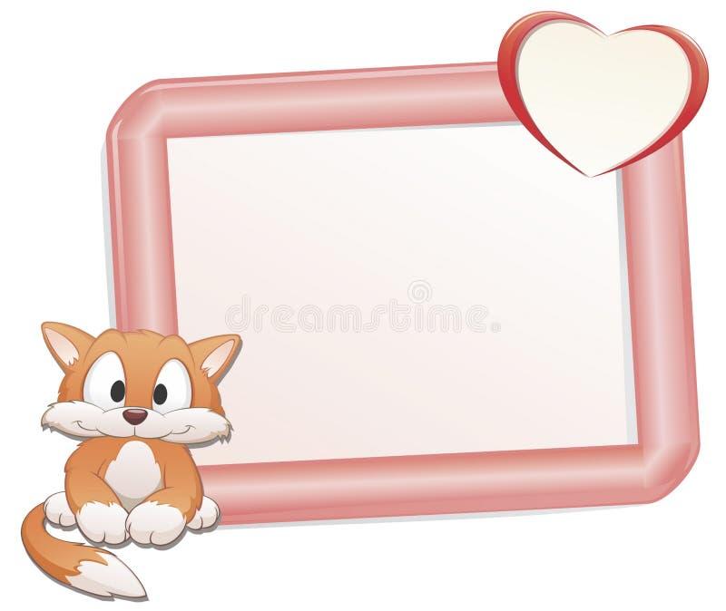 Gato lindo con el marco ilustración del vector