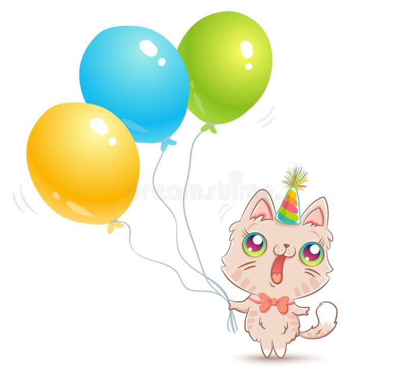 Gato lindo con los globos stock de ilustración
