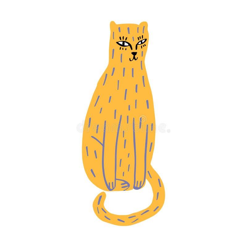Gato lindo de dibujo del jengibre en estilo del garabato en el fondo blanco Vector ilustración del vector
