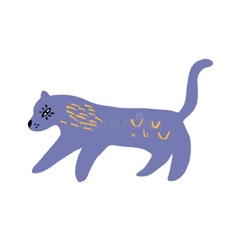 Gato lindo de dibujo en estilo del garabato en el fondo blanco Vector libre illustration