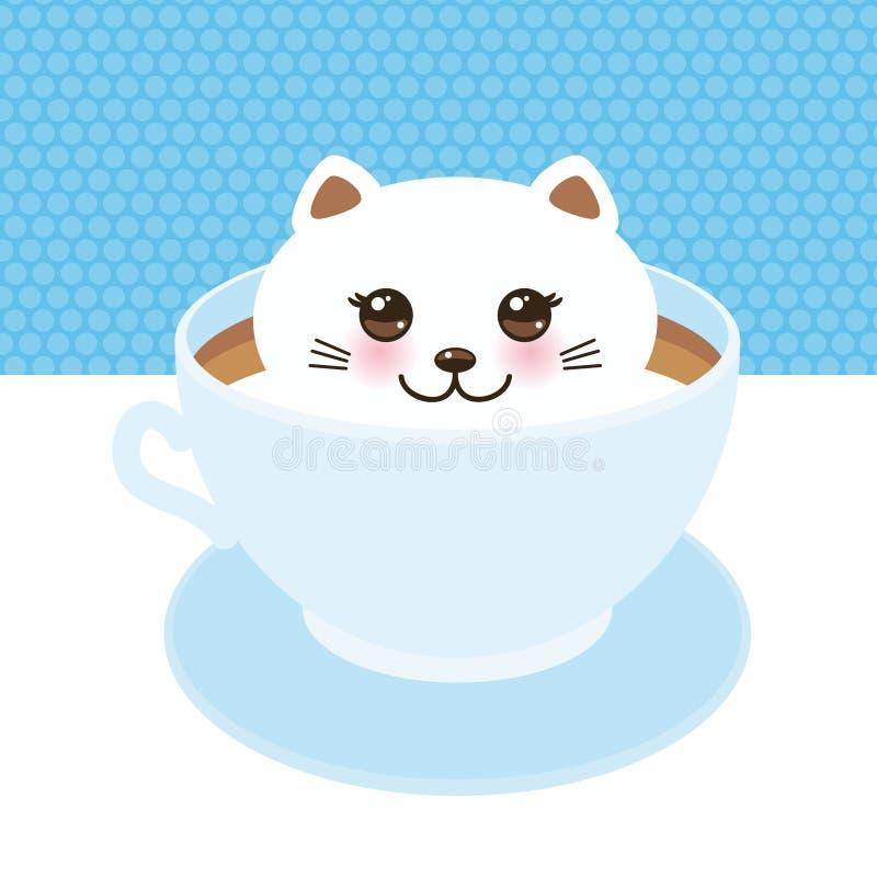 Gato lindo de Kawai en la taza azul de café del arte de la espuma, arte del café aislado en el fondo blanco Arte 3D del Latte top ilustración del vector