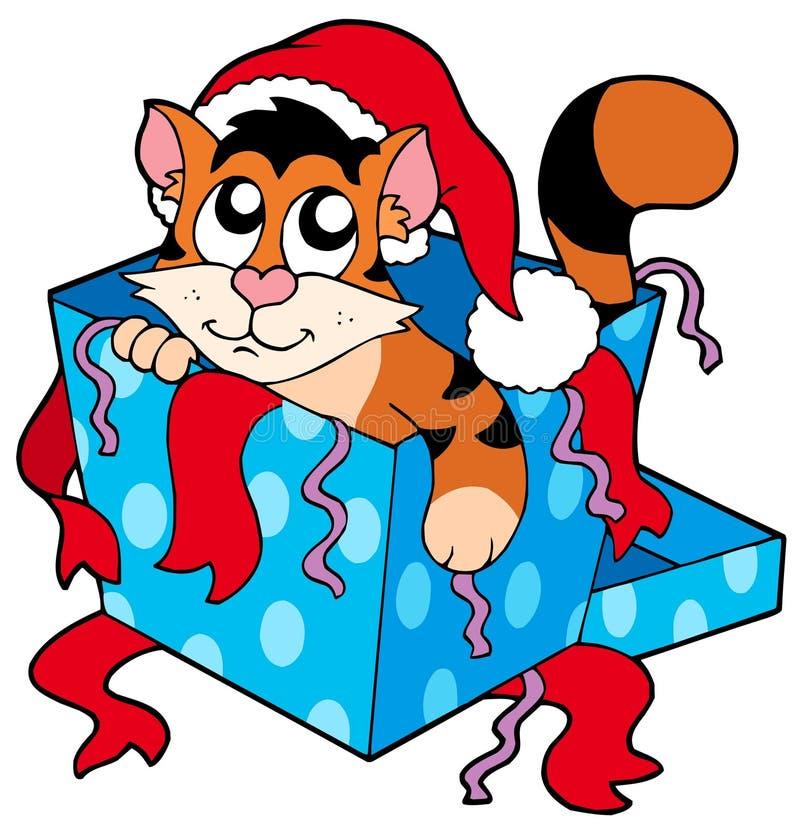 Gato lindo de la Navidad stock de ilustración