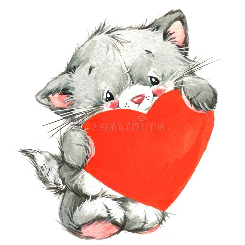 Gato lindo de Valentine Dayand y corazón rojo watercolor ilustración del vector