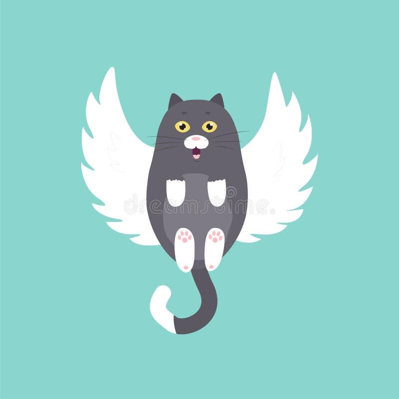 Gato lindo del ?ngel, mosca, ejemplo EPS 10 del vector ilustración del vector