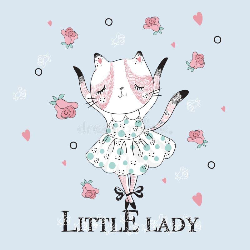 Gato lindo del bailarín con pequeño lema de la señora libre illustration