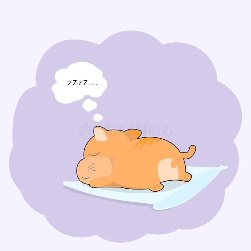 Gato lindo del bebé que duerme en estilo de la historieta de la almohada Gráficos de la camiseta stock de ilustración