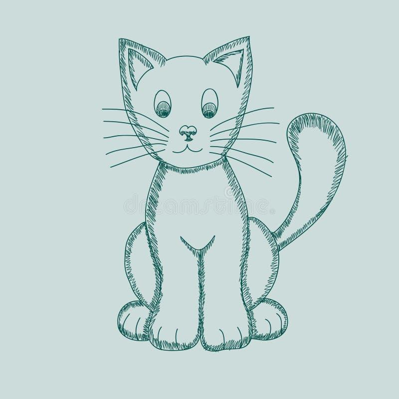 Gato lindo del dibujo del Pseudo-lápiz Ilustraci?n del vector ilustración del vector