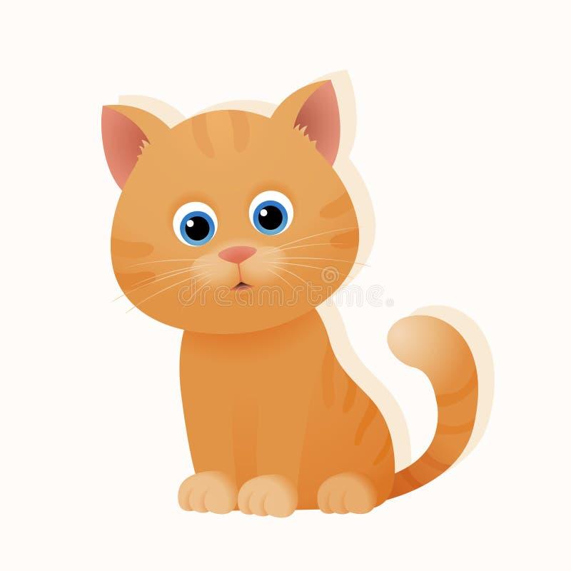Gato lindo del gatito del jengibre de la historieta libre illustration
